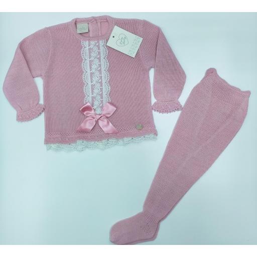Jersey bebé perlé  con polaina  Rosa Empolvado  con puntilla  de Prim Baby.