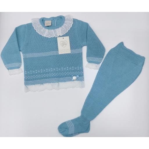 Jersey bebé perlé  con polaina  en Azulón  de Prim Baby.