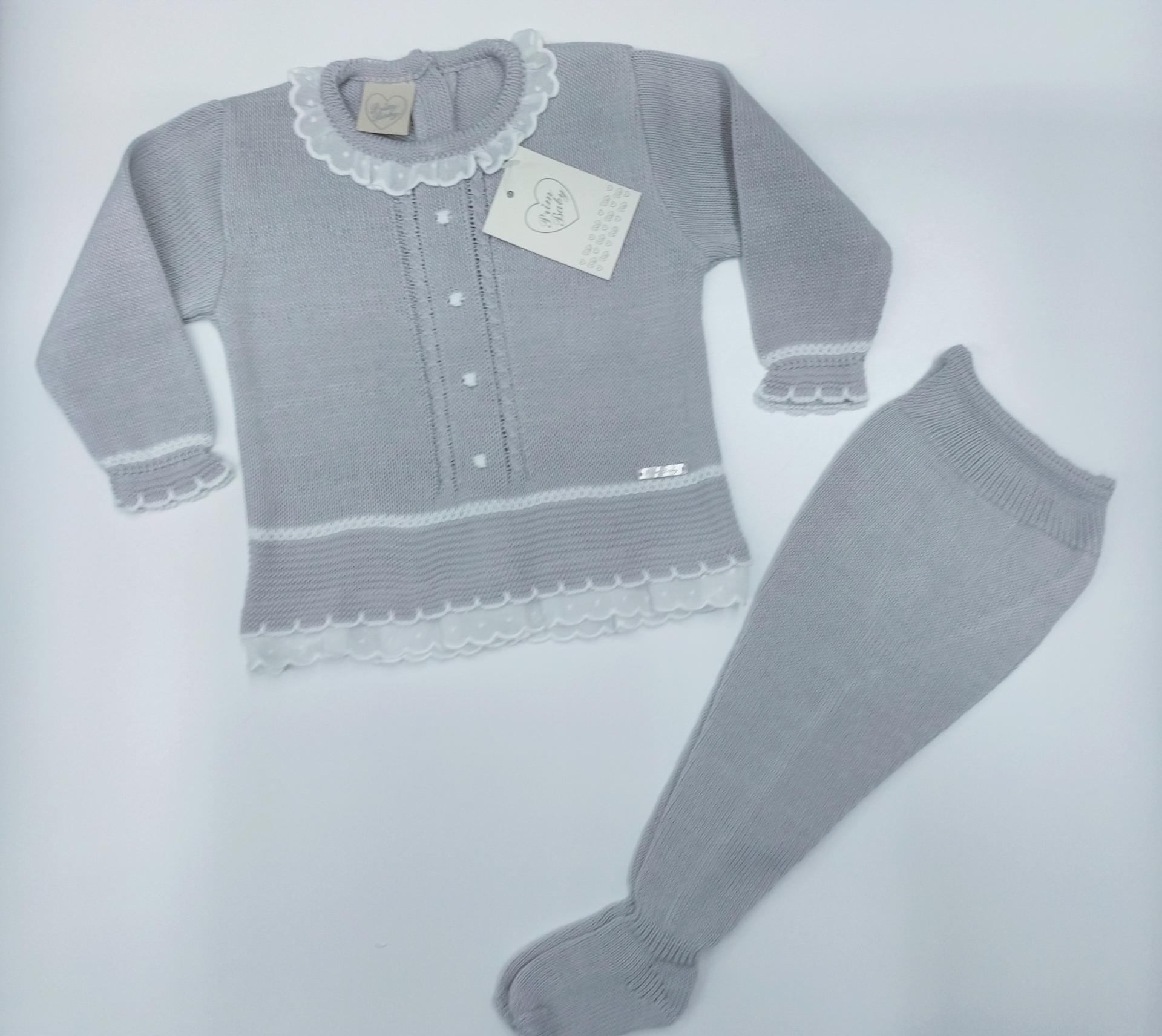 Jersey bebé perlé  con polaina  en Gris  de Prim Baby.
