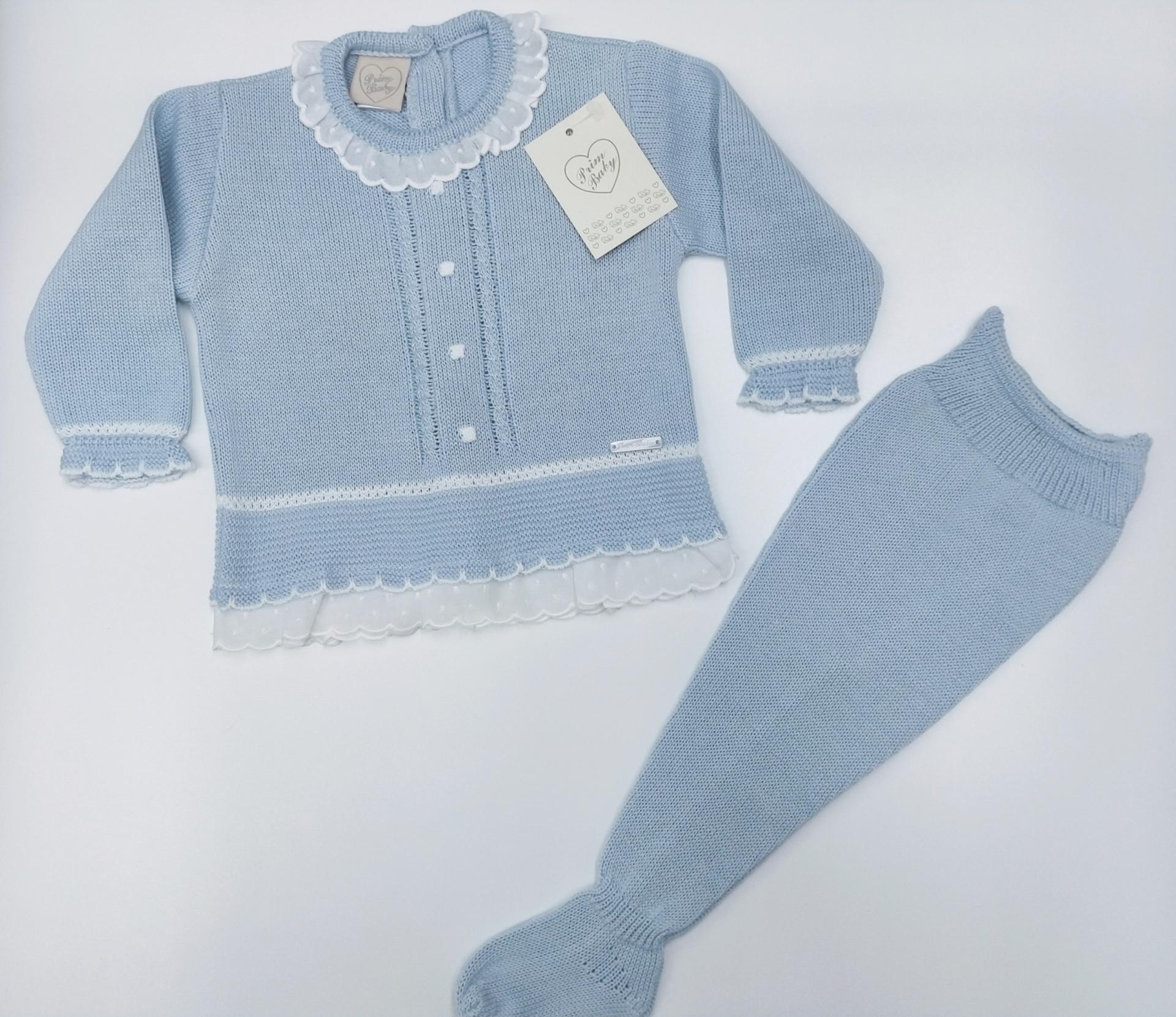 Jersey bebé perlé  con polaina  en Azul  de Prim Baby.