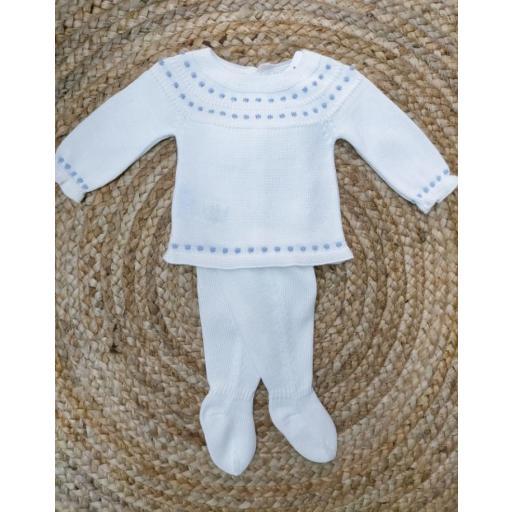 Jersey de bebé en Blanco y Azul con polaina de Mac Ilusión.