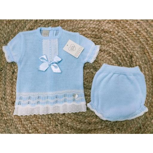 """Jersey bebé manga corta  """" Lazo """" con ranita en  Azul de Prim Baby."""