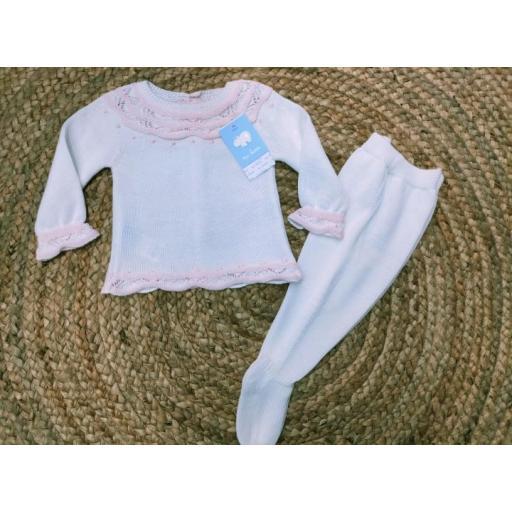 Jersey de bebé en Blanco/Rosa con polaina de Mac Ilusión.