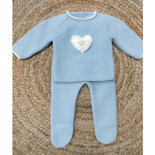 "Conjunto de bebé polaina azul "" Sweet Heart"" Pangasa."