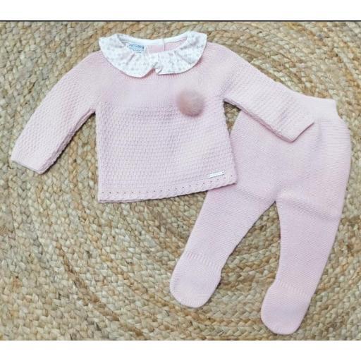 "Conjunto de bebé polaina rosa "" Tiny Leaves "" Pangasa."