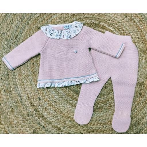 """Conjunto de bebé polaina rosa """" Cuko Bird """" Pangasa."""
