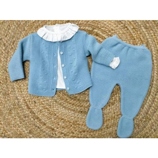 Conjunto de 3 piezas azul con polaina de bebé   Tony Bambino.