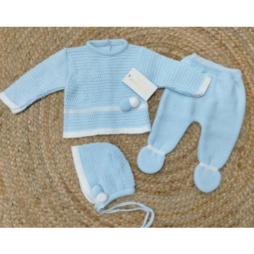Conjunto de polaina bebé con capota en azul  Tony Bambino.