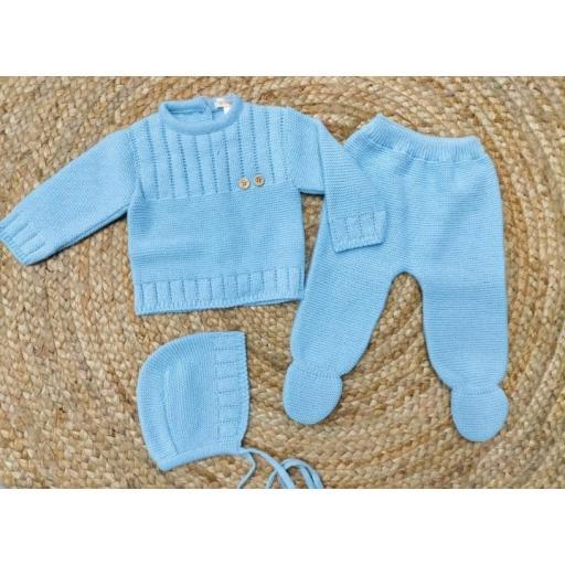 """Conjunto de polaina bebé con capota en azul """"Botones"""" Tony Bambino."""