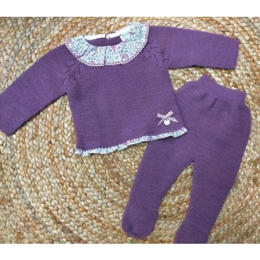 """Conjunto de bebé polaina morado """" Sweet Violet """" Pangasa. [0]"""