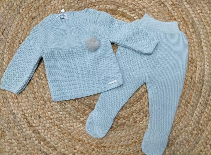 """Conjunto de bebé polaina azul """" Tiny Leaves """" Pangasa."""