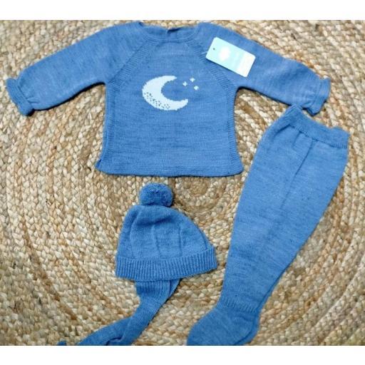 """Conjunto  con polaina de bebé azulin """" Luna""""   de Mac Ilusión. [0]"""