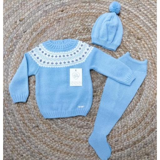 Jersey Greca de bebé con polaina y gorro en azulín de prim Baby..