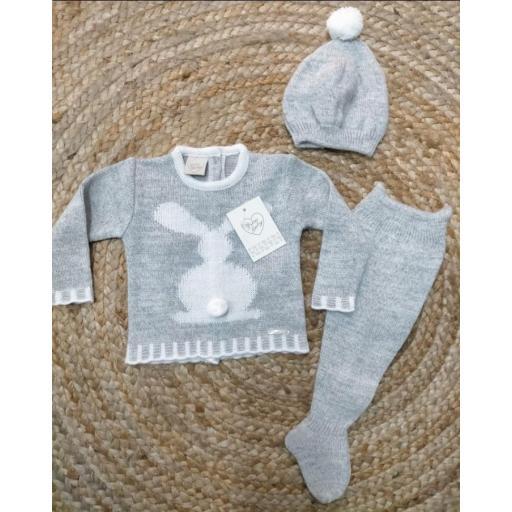 Jersey Conejito de bebé con polaina y gorro en gris de prim Baby..