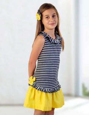 Vestido rayas con lazos amarillos de Basmarti.