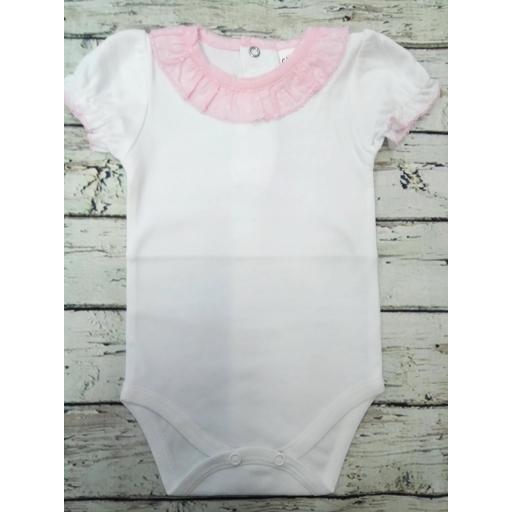 Body de bebé de manga corta  con  cuello rosa .