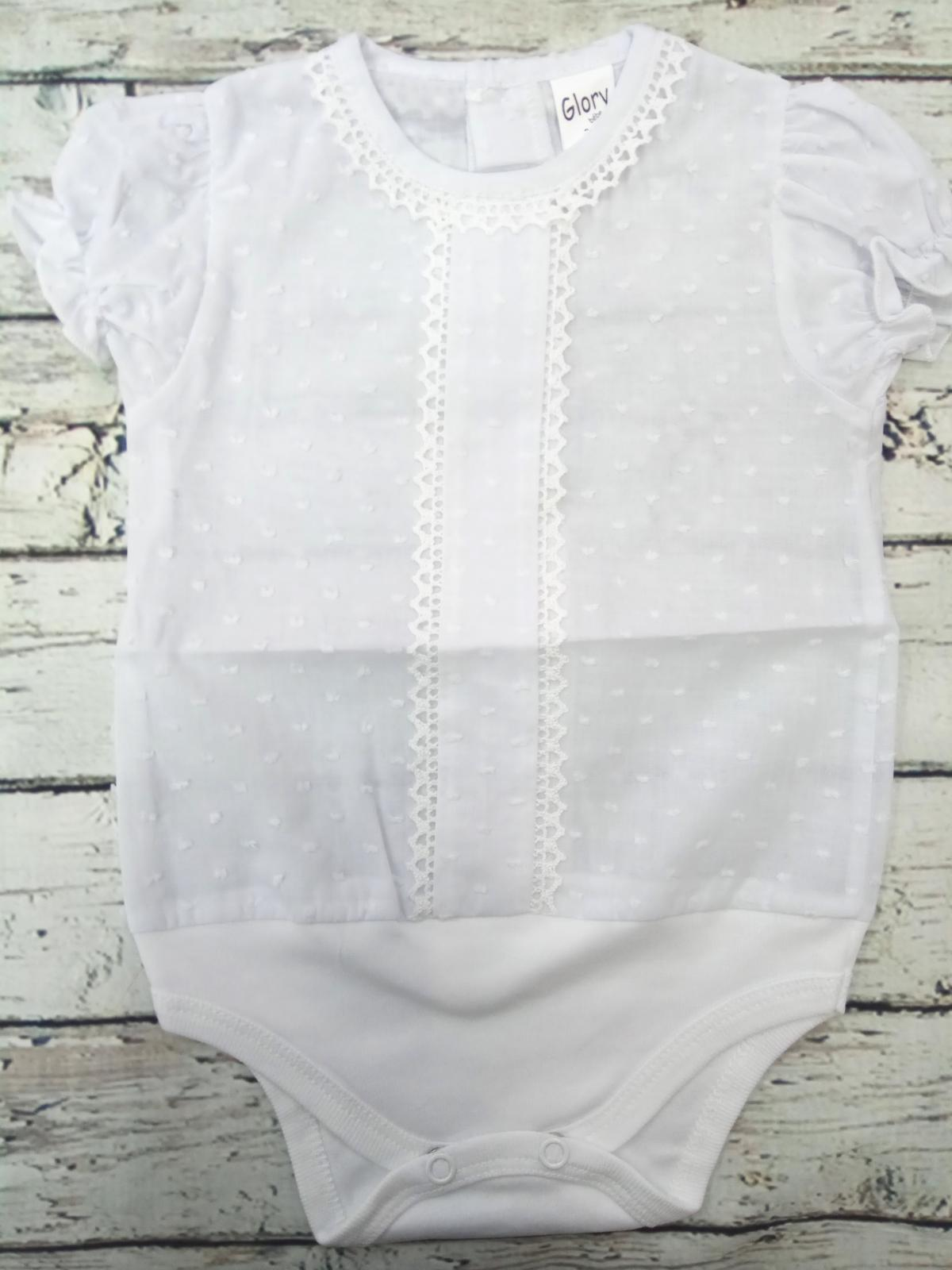 Body de bebé  de plumeti de manga corta con bordado.
