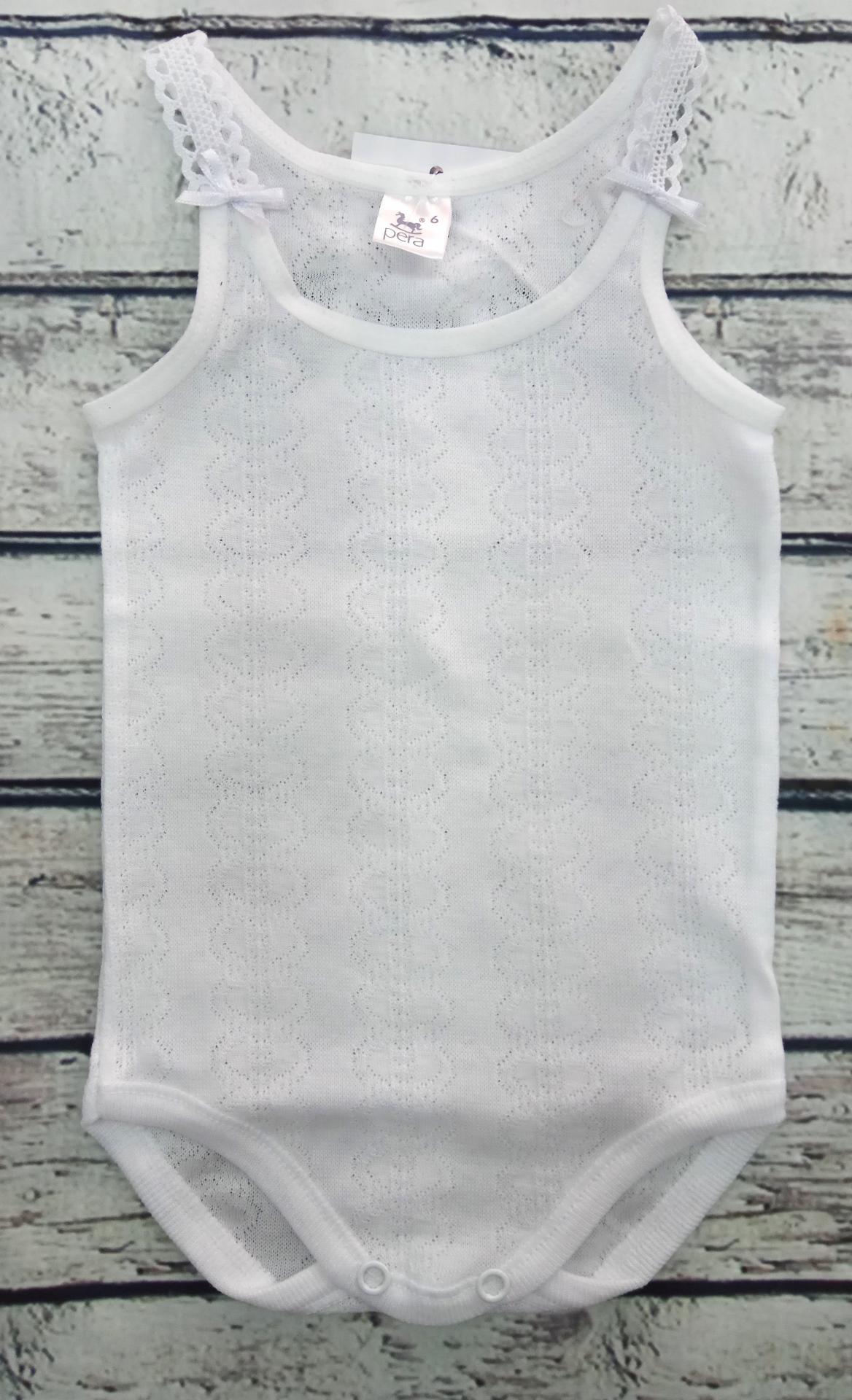 Body bebé calado con tirantes de bordado  100 % algodón de Pera.