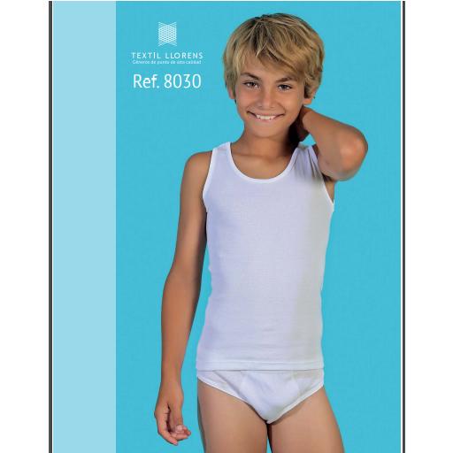 Camiseta  interior de niño tirantes 100 % algodón.