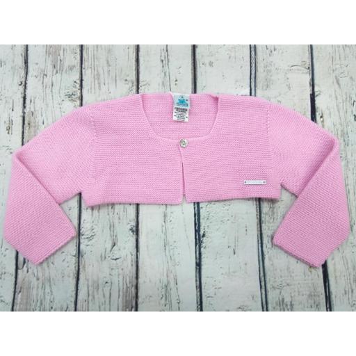 Chaqueta de niña rosa chicle de perlé de Pangasa.