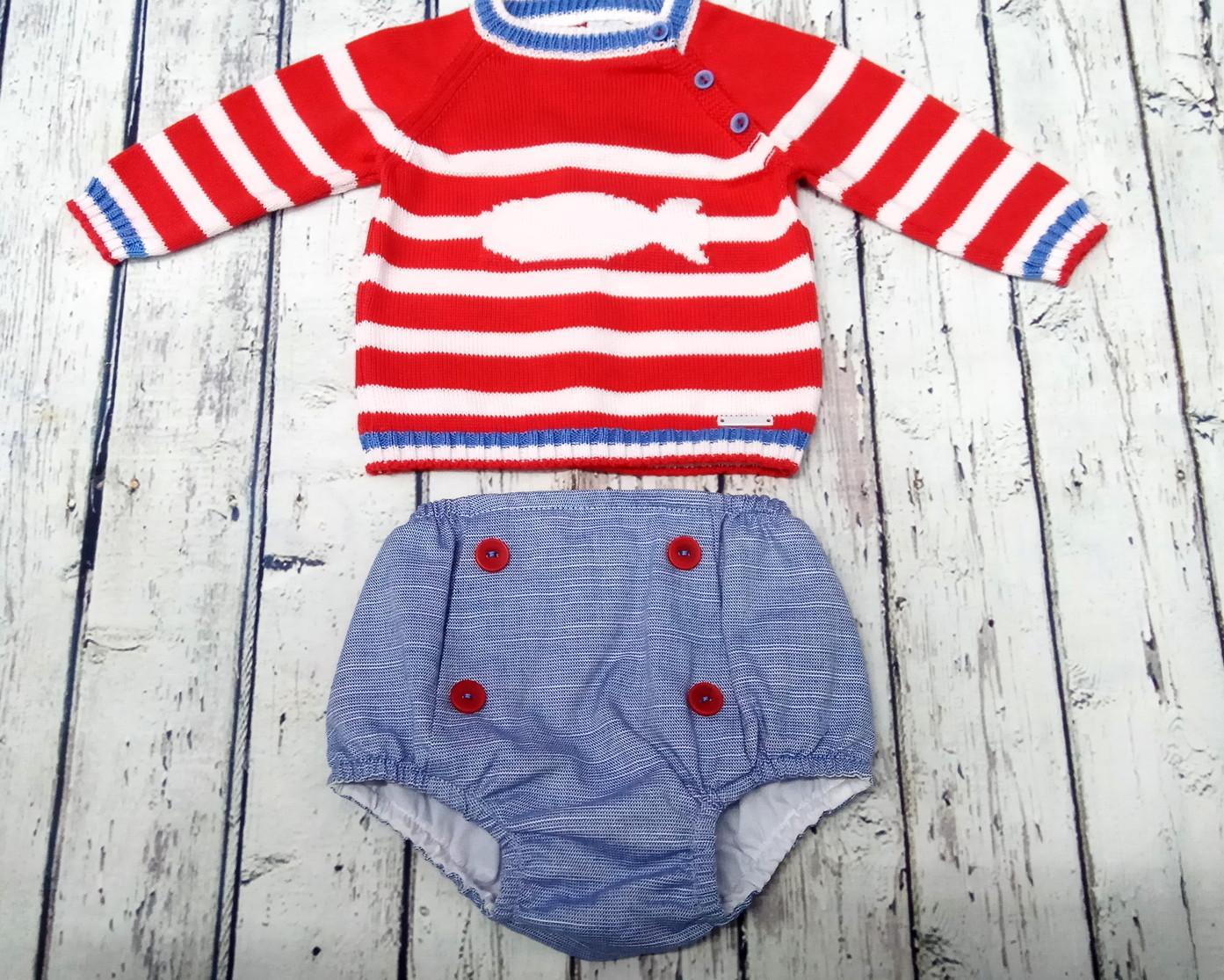 Conjunto de bebé rojo Ballena de Pangasa Baby
