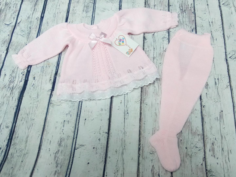 Conjunto de bebé con polaina en rosa de perlé