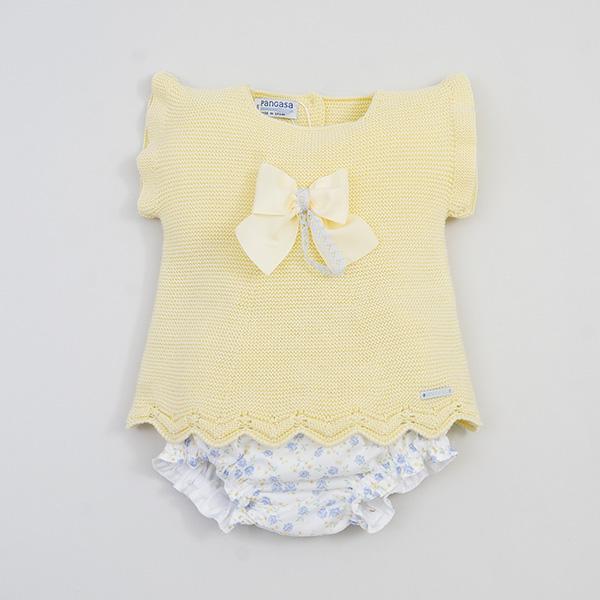 Conjunto Bebé amarillo  con ranita  de Pangasa.