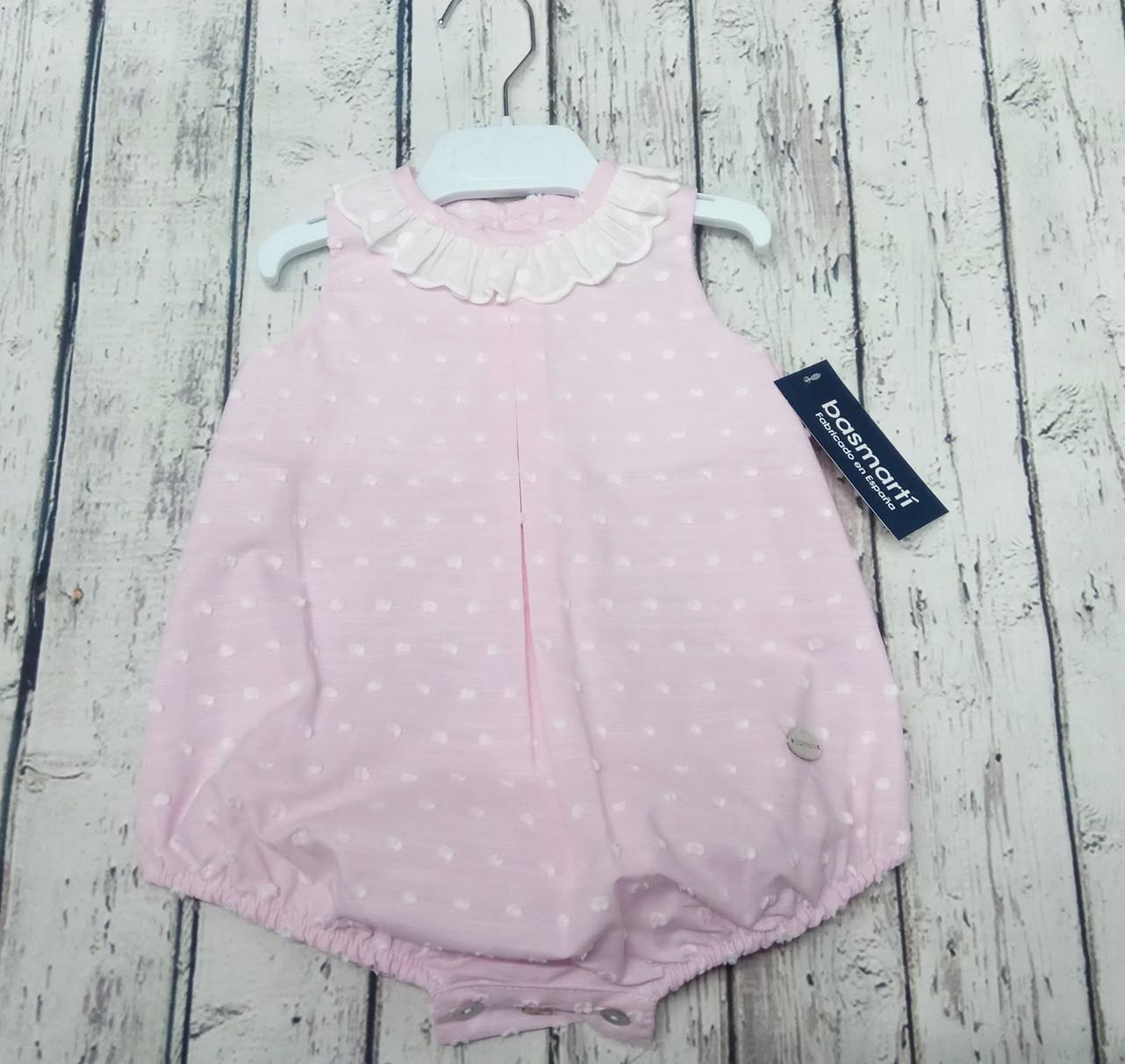 Pelele de bebé en plumeti rosa de Basmarti.
