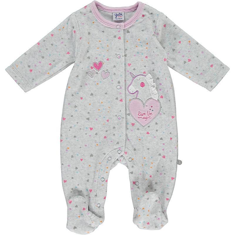 Pijama bebé niña abierto de  Unicornio de Yatsi.