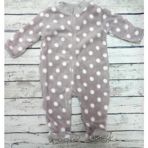 Pijama manta bebé en gris de topos.