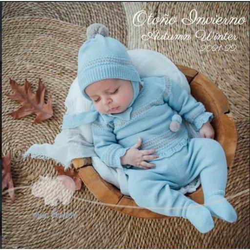Jersey bebé azul con polaina y gorrito  Mac Ilusión.