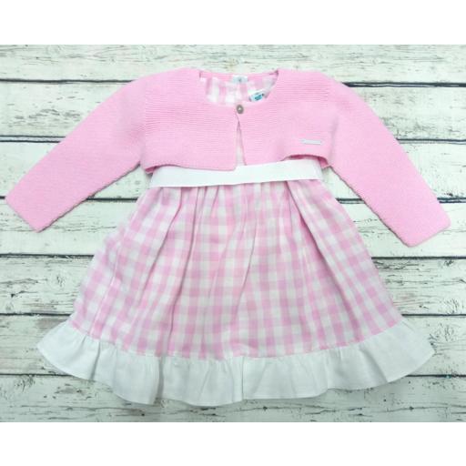 Chaqueta de niña rosa chicle de perlé de Pangasa. [2]