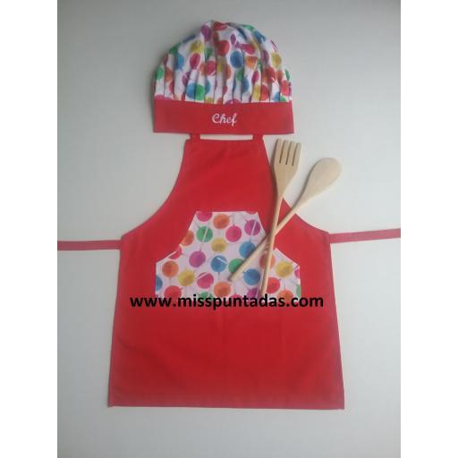 Delantal Chef junior rojo.