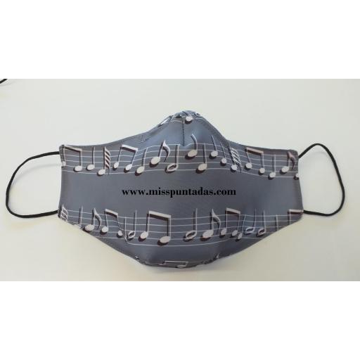 Mascarilla Gris Notas Música