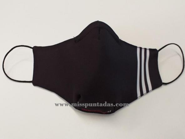 Mascarilla Negra con 3 rayas MP-VR.
