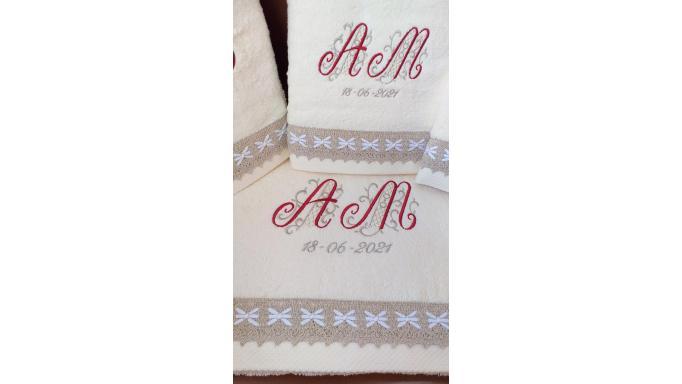 Juego toallas bordadas AM. [2]