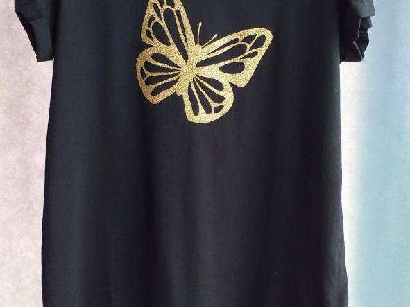 Camiseta  Mariposa glitter oro [1]