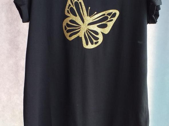 Camiseta  Mariposa glitter oro
