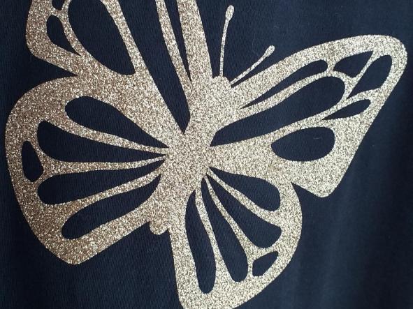 Camiseta  Mariposa glitter oro [2]