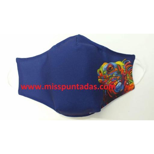 Mascarilla Iguana en tela Azulina MP-VR