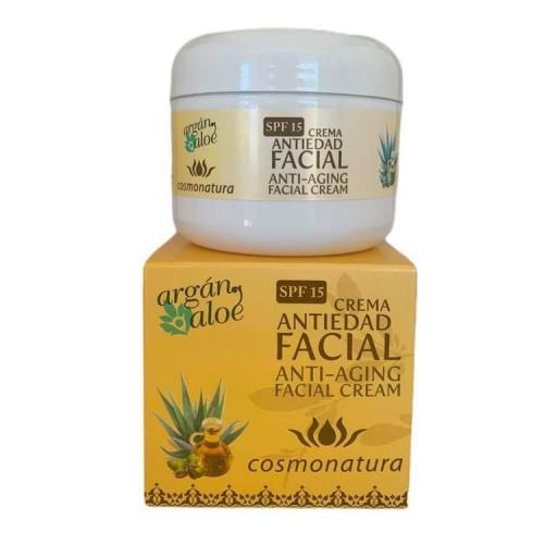 Crema facial anti edad con aloe vera y aceite de argán FPS15 (100ml)