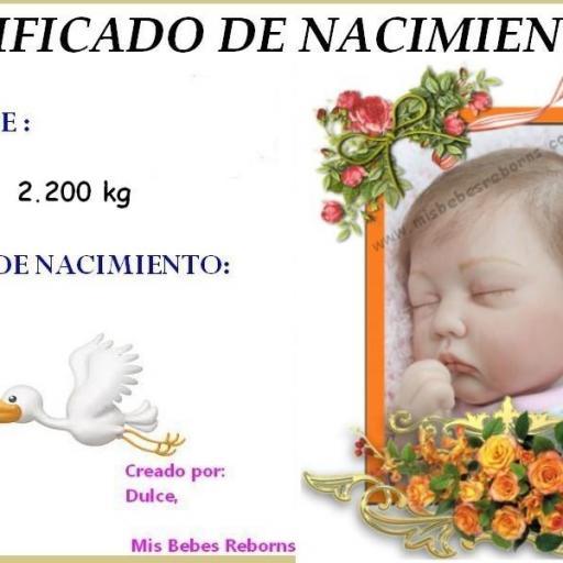 Certificado de nacimiento gratuito de Ainoa Dormida