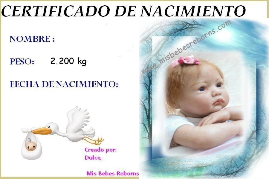 Certificado de nacimiento gratuito de Ainoa Despierta