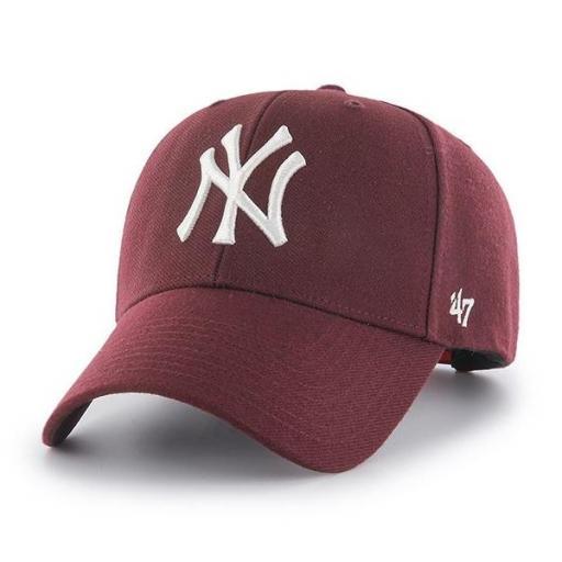 47 BRAND Gorra MLB New York Yankees '47 MVP SNAPBACK Dark Maroon
