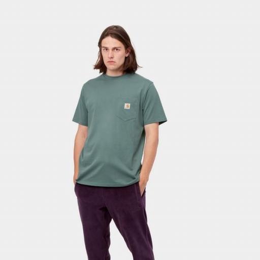 CARHARTT Camiseta S/S Pocket Eucalyptus