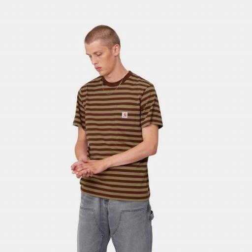 CARHARTT Camiseta S/S Scotty Pocket T-Shirt Stripe Offroad Tanami
