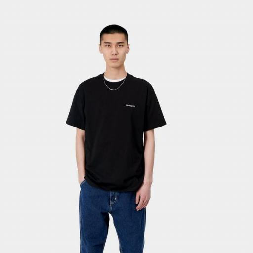 CARHARTT Camiseta S/S Script Embroidery T-S Frosted Black White