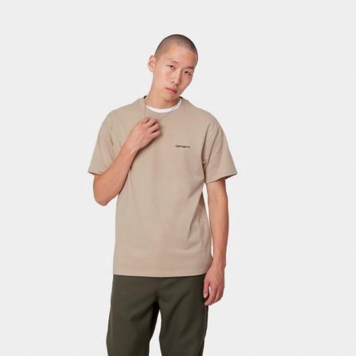 CARHARTT Camiseta S/S Script Embroidery T-S Wall Black