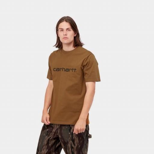 CARHARTT Camiseta S/S Script T-Shirt Hamilton Brown Black