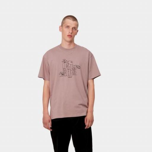 CARHARTT Camiseta S/S Stoneage T-Shirt Earthy Pink Black